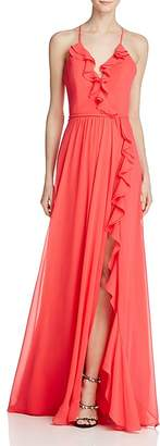 Faviana Couture Ruffle Front-Slit Gown $298 thestylecure.com