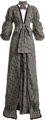 Jonathan Simkhai Smocked gingham lace-trimmed V-neck gown