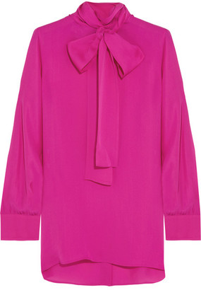 Gucci - Pussy-bow Silk Crepe De Chine Shirt - Fuchsia $1,100 thestylecure.com