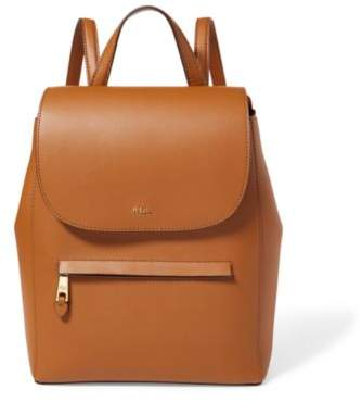 Ralph Lauren Leather Ellen Backpack Brown/Monarch Orange One Size