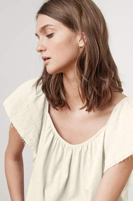 Velvet by Graham & Spencer IMARI COTTON CONTRAST DRAPE SLEEVE TEE