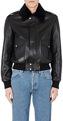 Loewe Men's Shearling-Collar Moto Jacket - Black