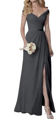 Yilis Elegant V-Neck Chiffon Slit Long Bridesmaid Dress Wedding Evening Dress US