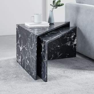 west elm Nesting Marble Side Tables - Black