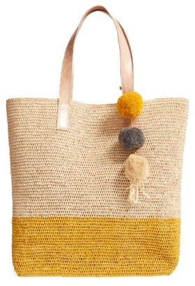Mar Y Sol Montauk Woven Tote With Pom Charms - Blue $139 thestylecure.com