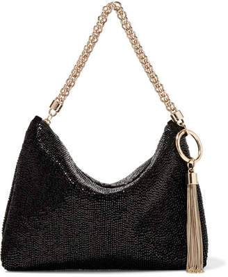 Jimmy Choo Callie Beaded Satin Shoulder Bag - Black