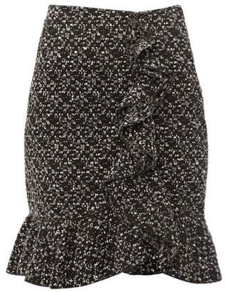 Giambattista Valli Ruffled Boucle Mini Skirt - Womens - Black Multi