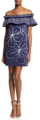 Parker Jody Off-the-Shoulder Topstitched Dress