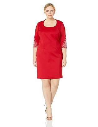 S.L. Fashions Women's Plus-Size Cap Sleeve Scuba Fitted Dress