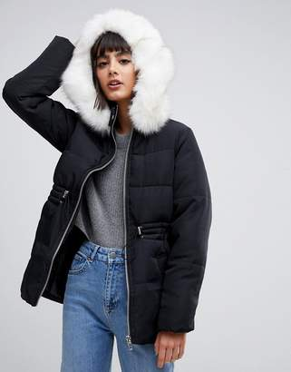Asos DESIGN puffer jacket with waist detail and faux fur hood