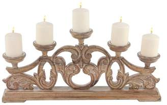 DecMode Decmode Traditional 12 X 28 Inch Carved Wood Five-Arm Candle Holder
