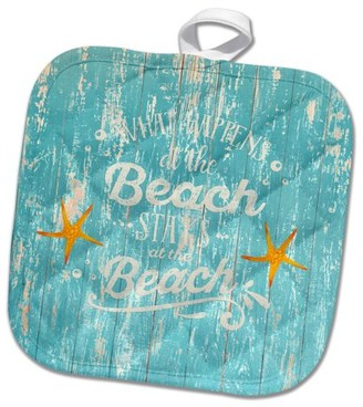 3dRose Funny Beach Quote On Teal Wood-Maritime Summer Saying - Pot Holder, 8 by 8-inch