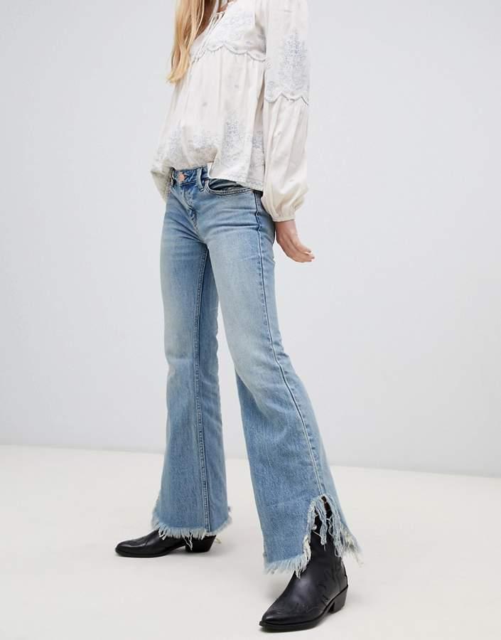 Vintage raw hem flared jeans
