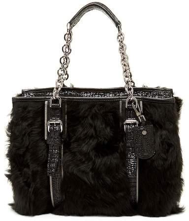 LONGCHAMP More is More Genuine Lamb Fur Leather Shoulder Bag