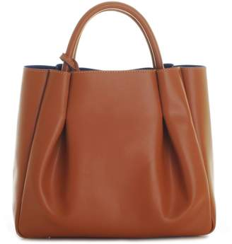 Alexandra de Curtis Ashley Midi Ruched Tote Cognac