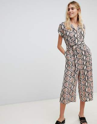 New Look collared jumpsuit in snake print