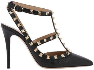 Valentino GARAVANI Pumps Rockstud Ankle Strap In Genuine Hammered Leather With Mini Metal Studs