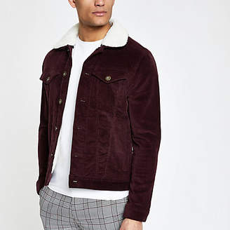 River Island Dark red fleece collar cord jacket