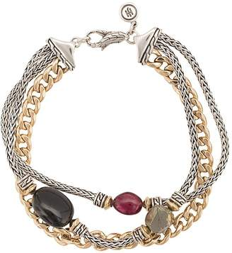 John Hardy Adwoa Aboah 18kt Yellow Gold, Silver and Mixed Stone Classic Chain Triple-Row Bracelet