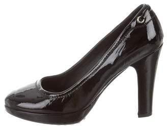 Car Shoe Patent Leather Round-Toe Pumps