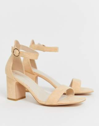 e9c20a5bff Glamorous mid heeled sandal with buckle strap in peach