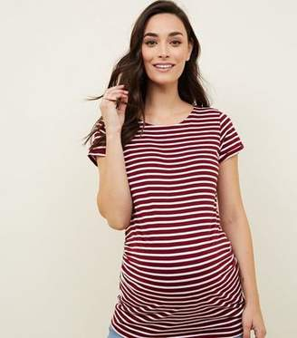 New Look Maternity Red Stripe Short Sleeve T-Shirt