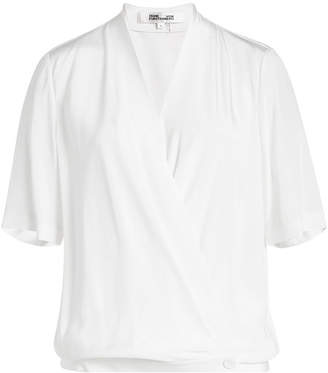 Diane von Furstenberg Silk Cross-Over Blouse