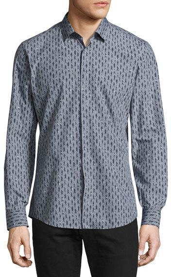 Salvatore FerragamoFerragamo Passerby Cotton Sport Shirt, Gray