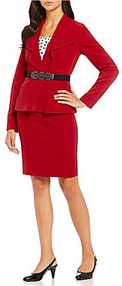 Albert Nipon Embellished Belt Crepe Skirt Suit $375 thestylecure.com