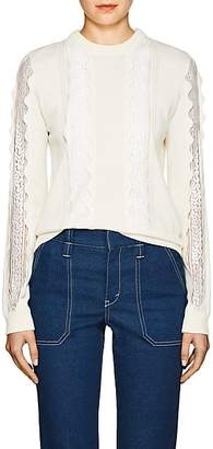 Chloé Women's Lace-Inset Stretch-Wool Sweater - Ivory