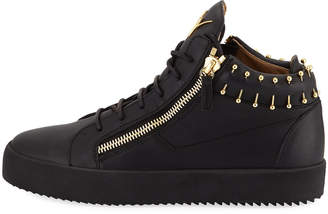 Giuseppe Zanotti Men's Leather Mid-Top Sneakers with Gold Piercing Details