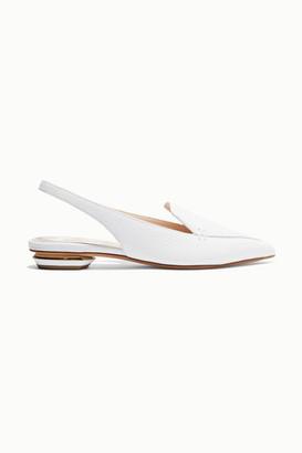 Nicholas Kirkwood Beya Textured-leather Slingback Flats - White