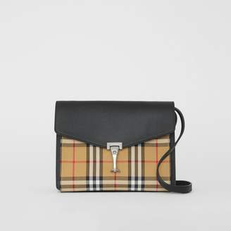 Burberry Small Vintage Check and Leather Crossbody Bag, Black