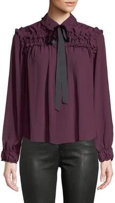 Few Moda Bow-Neck Button-Front Blouse