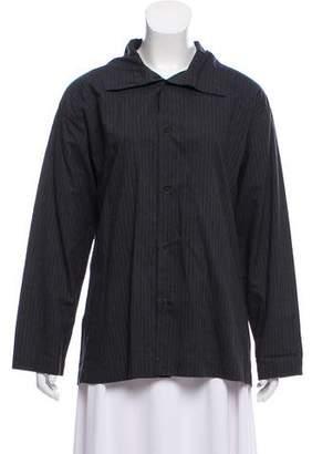 eskandar Pinstripe Button-Up Top