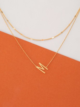 Shein Dainty Layer Gold Chain Letter M Pendant Necklace