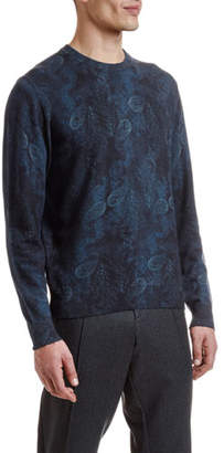 Etro Men's Wool Paisley-Print Crewneck Sweater