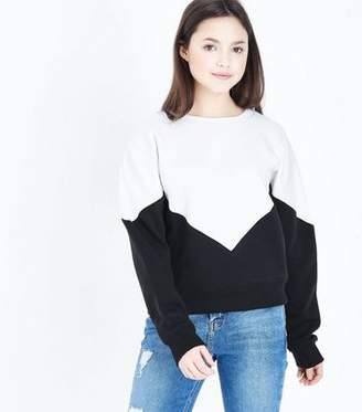 New Look Teens Black Chevron Colour Block Sweatshirt