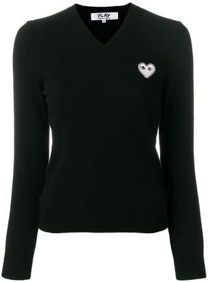 Comme des Garcons V-neck heart logo sweater