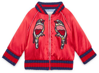 Baby satin bomber with embroideries $895 thestylecure.com