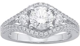 Swarovski Generic 1/2 Carat T.G.W. Crystal and CZ Sterling Silver Engagement Ring