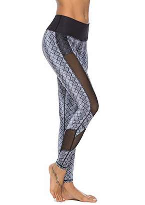 Mint Lilac Women's High Waist Printed Yoga Pants Full-Length Workout Leggings with Mesh Panel