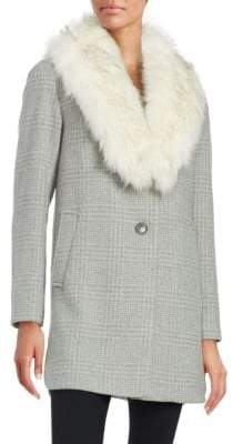 T Tahari Olivia Faux Fur Collar Wool-Blend Plaid Coat