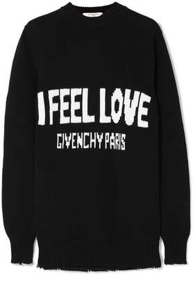Givenchy Oversized Distressed Intarsia Cotton Sweater - Black