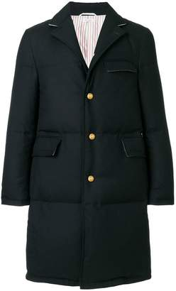 Thom Browne Center-Back Engineered Stripe Down-Filled Classic Chesterfield Overcoat