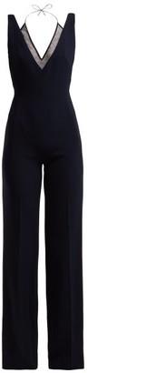 Roland Mouret Hartnell V Neck Crepe Jumpsuit - Womens - Navy