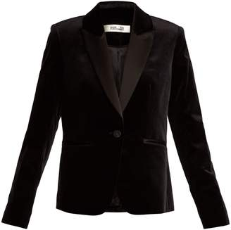 Diane von Furstenberg Single-breasted contrast-lapel velvet blazer