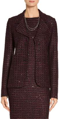 St. John Scalloped Sequin Tweed Knit Jacket