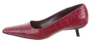 Bruno Magli Crocodile Squared-Toe Pumps