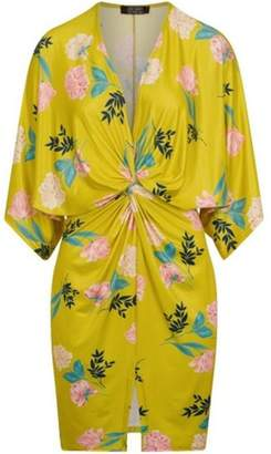 Dorothy Perkins Womens *Girls On Film Lime Print Knot Shift Dress